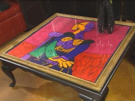 DIY Framed Scarfs Table