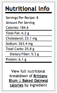 Berry Baked Oatmeal :: Nutritional Information