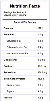 Green Lemonade - Nutritional Information