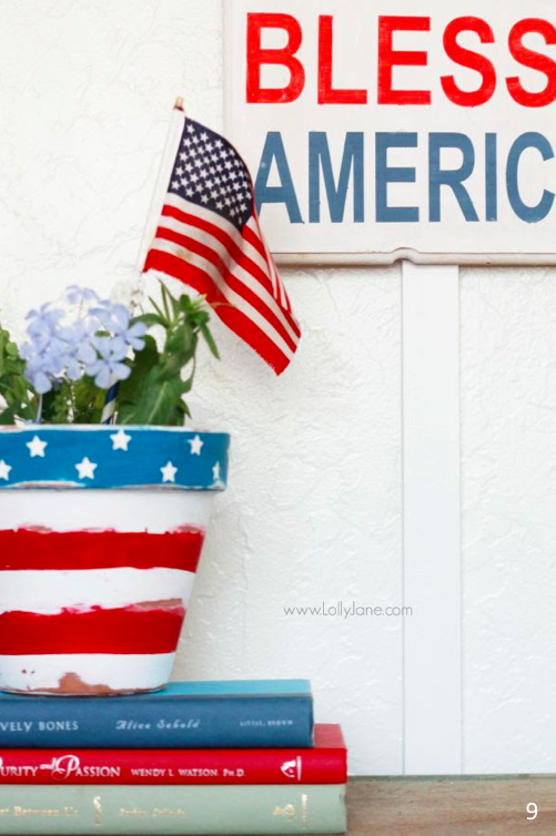 LPaint a flag on an old pot for an easy at home craft - et Freedom Ring - Fab 4th of July Decor ideas.