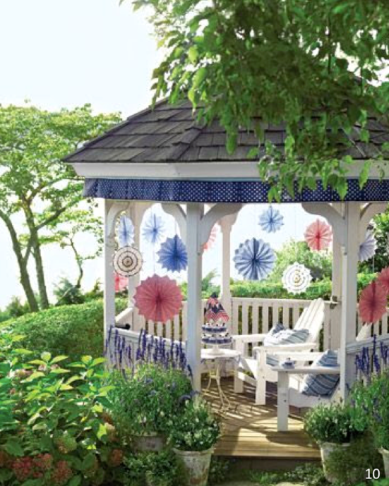 Dress up any gazebo or porch - Let Freedom Ring - Fab 4th of July Decor ideas.
