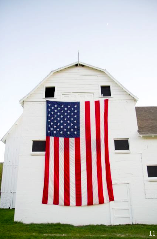 The simplicity of hanging a flag of any size will make quit the impression - Let Freedom Ring - Fab 4th of July Decor ideas.