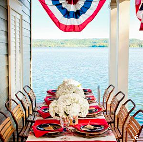 Classic bunting and striped table runners, positioned horizontally down the table - Let Freedom Ring - Fab 4th of July Decor ideas.
