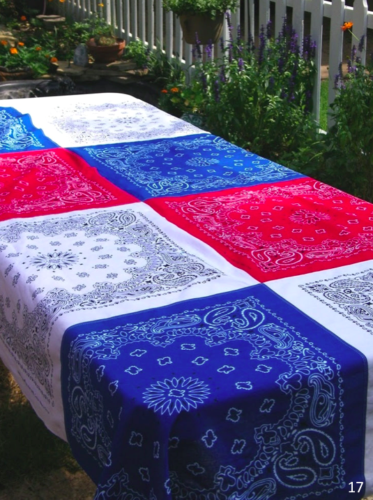 Bandanna tablecloth.  You could even use as a quilt if you were having a picnic - Let Freedom Ring - Fab 4th of July Decor ideas.