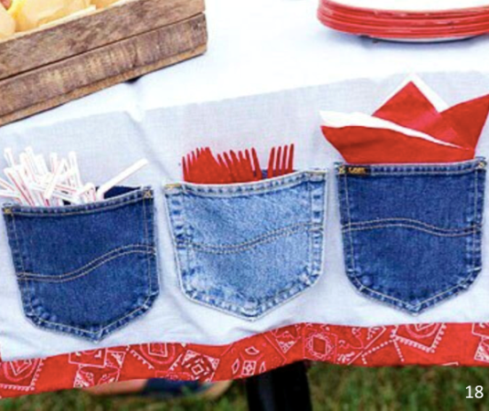 Jean pockets added to tablecloth for silverware - Let Freedom Ring - Fab 4th of July Decor ideas.