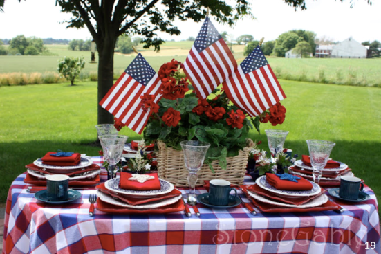 Festive American table - Let Freedom Ring - Fab 4th of July Decor ideas.